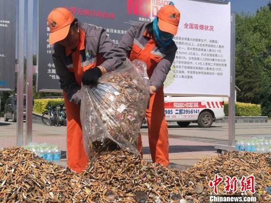 """呼和浩特4000环卫工人一天捡出一座""""烟头山"""""""